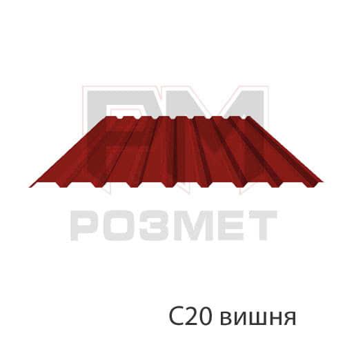 Профнастил С20 гнилая вишня (1.05х2м), фото